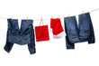 Jeans, with gift bag and santa hats on the clothesline