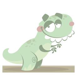 Cartoon funny green Tyrannosaurus Rex dinosaur