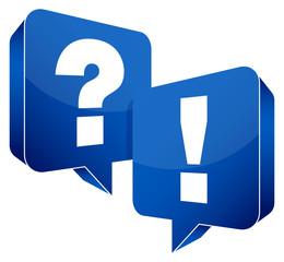 Speech Bubbles Question & Answer Blue