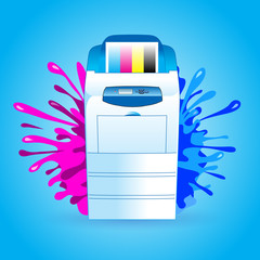 printer cmyk print splash vector