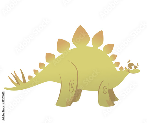 Cartoon funny green stegosaurus dinosaur