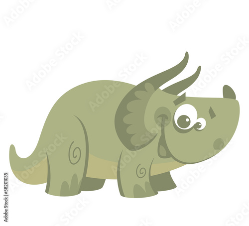 Cartoon funny green triceratops dinosaur