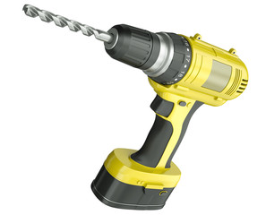 Cordless drill isolated on a white background, 3D render