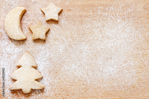 Papiers peints Table preparee Christmas baking cookies abstract food background
