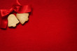 Christmas abstract  background  with cookies on red fabric