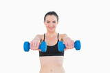 Portrait of a smiling young woman with dumbbells
