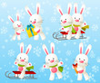 Set of funny rabbit characters