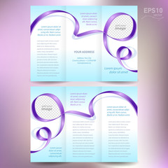 brochure ribbon element band wave color violet line
