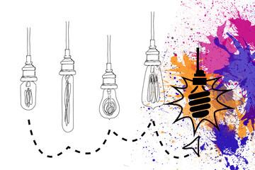 Light bulbs over splashes