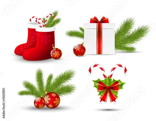 Set of vector Christmas icons on white
