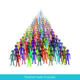 Multiple colorful crowd of people - pyramid made of people icons