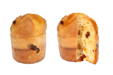 Whole and cut panettone