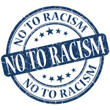 No to racism grunge blue round isolated stamp