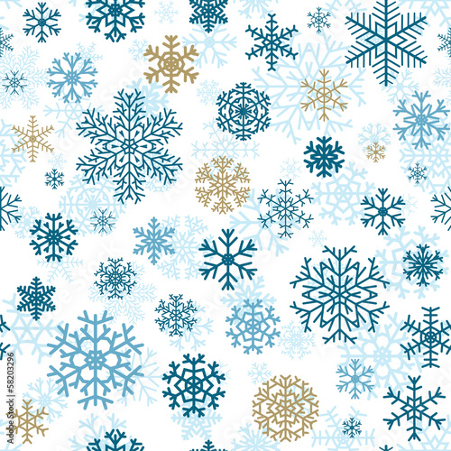 Christmas seamless pattern of snowflakes