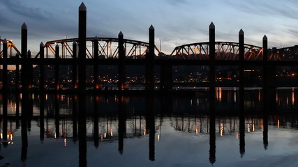 Portland OR Hawthorne Bridge Closeup Water Reflection