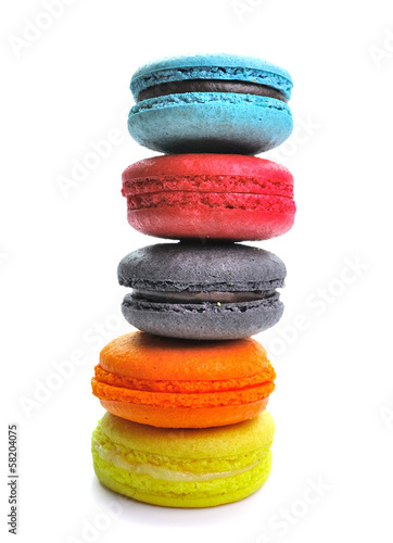 colorful macarons isolated on white backrgound