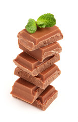 Milk chocolate with a sprig of mint.