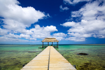 Calm scene with jetty and turquoise water in Mauritius