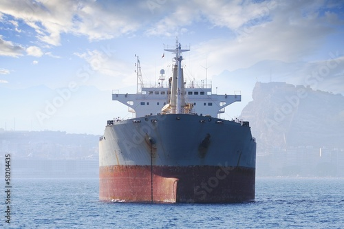 General cargo vessel anchored in Alicante bay