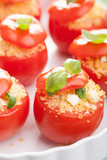 stuffed baked tomatoes with couscous and feta
