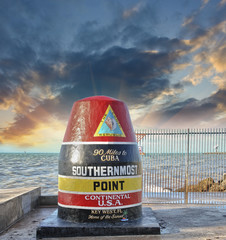 Southernmost Point sign in Key West, Florida. Beautiful seascape
