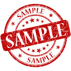 Sample grunge red round stamp