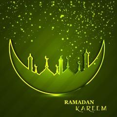 Celebration Ramadan Kareem religious mosque and moon green color