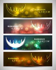 Mosque and moon beutiful four headers set Ramadan kareem design