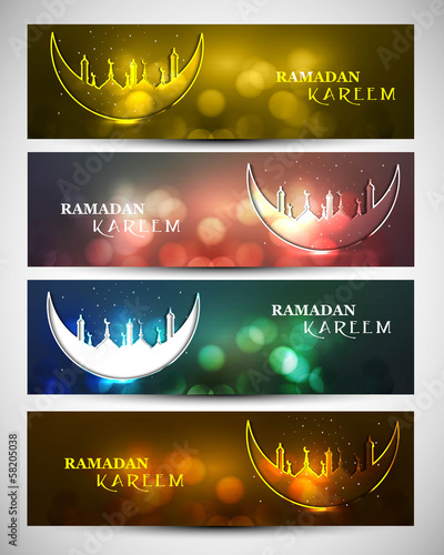 Mosque and moon beutiful four headers set Ramadan kareem design