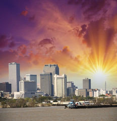 New Orleans, Louisiana. Mississippi river and city skyline