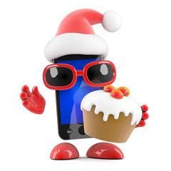 Smartphone Santa with a Christmas cake