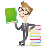 Businessman, stack of books, literature, teacher