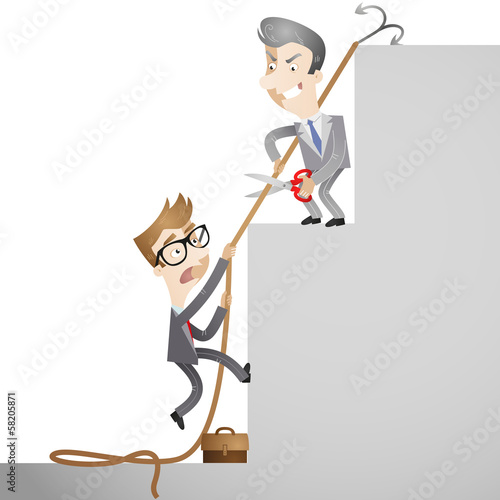 Business people, rivalry, career, cutting rope, bullying
