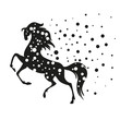 abstract black horse - vector illustration