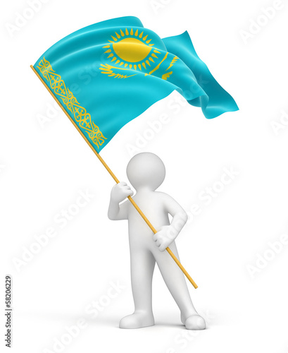 Man and Kazakh flag (clipping path included)