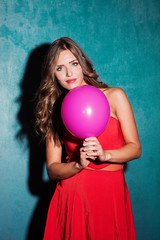 red dress and pink balloon