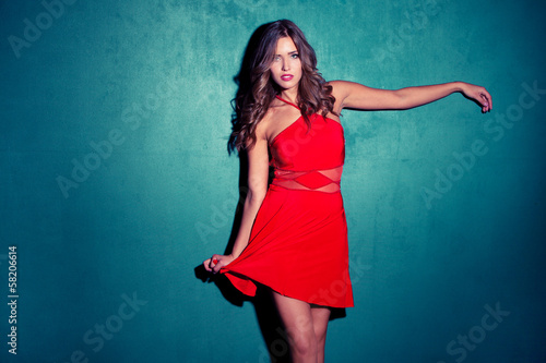 canvas print picture red dress