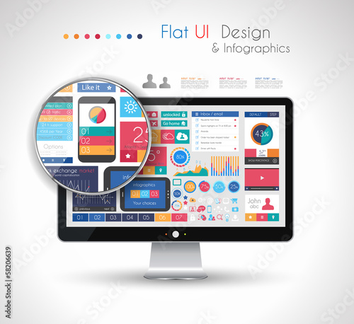 UI Flat Design Elements in a modern HD screen computer: