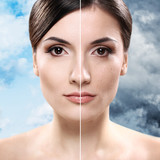 Face of  woman before and after retouch poster