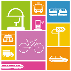 traffic icons, transportation colorful background