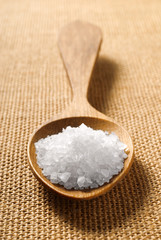 sea salt on wooden spoon