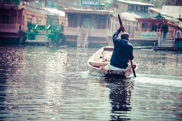 Shikara boat in Dal lake , Kashmir India