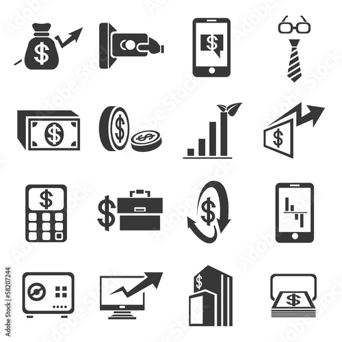 financial concept icons set