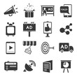 advertising icons set, marketing concept