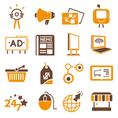 online, internet marketing icons, orange theme