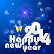 vector illustration of new year greeting for 2014 with firework