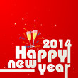 vector illustration of Happy New Year 2014 with Champagne Glass
