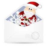 Open envelope with snowflakes and Santa Claus.