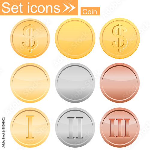 set of coins, vector illustration