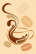 vector illustration of cup of hot coffee on abstract background